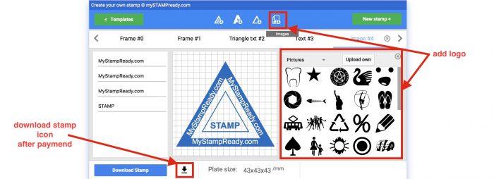 add logo to triangular stamp
