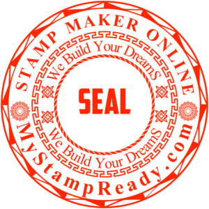 Custom rubber stamp in red round form made by stamp maker online