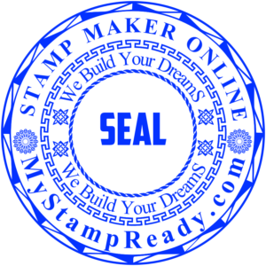 Custom rubber seals in round form made by stamp generator online