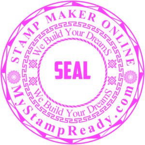 Pink embossing stamp in round form with the return address