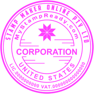Signature seal with corporation inscription in the middle and company logo