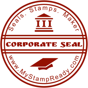 Approved stamp in red round form with the design stamp font
