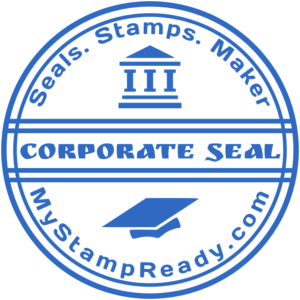 Approved seal in blue round form with the design stamp font