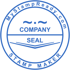 Company seal in blue round form made by stamp maker MyStampReady