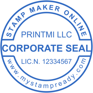 Corporate seal in blue round form created with the stamp maker online