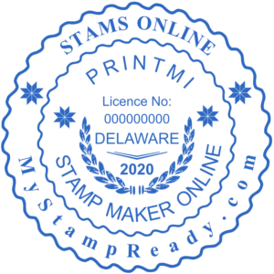 Signature seals in blue color with the logo made by stamp maker