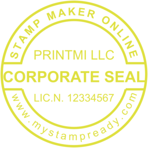 Corporate stamps in yellow round form created with the stamp designer online