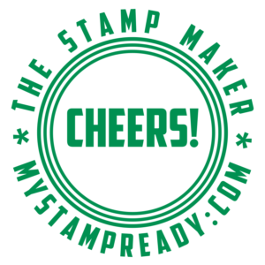 Round seal in green color make by stamp designer MyStampReady