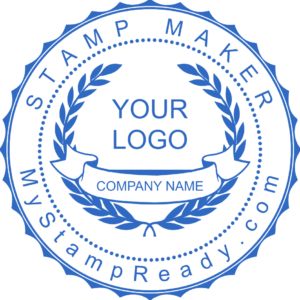 Custom stamps in blue created with the stamp maker online