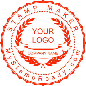 Custom stamp in red color with the logo