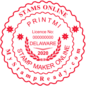 Signature stamps in red color with the logo made by MyStampReady