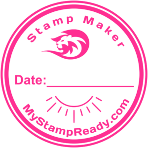 Stamp online in pink round form made by stamp maker MyStampReady
