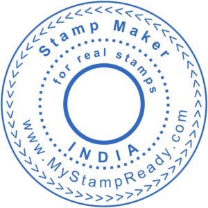 Custom stamp round form in blue created with the stamp maker online