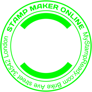 Return address stamp in green round form created with the stamp maker online