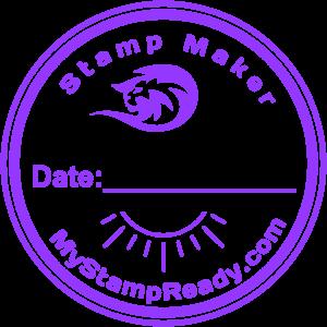 Stamps online in violet round form made by stamp maker MyStampReady