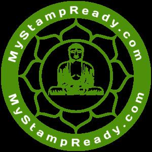 Штамп для приглашения в виде круга с Буддой